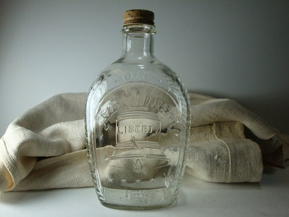 Vintage Glass Bottle - Log Cabin Liberty Bell Glass Bottle with Lid Celebrating our Bicentennial - K98