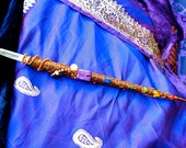 Custom Magic Chakra Wand - Copper/Silver Wirework on Wooden Wand, Coral, Peridot, Emerald Quartz, Lapis Lazuli, Charoite, Moonstone...
