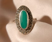 Art Deco Style Vintage Ring With Green Stone & Marcasite - Size U.K W