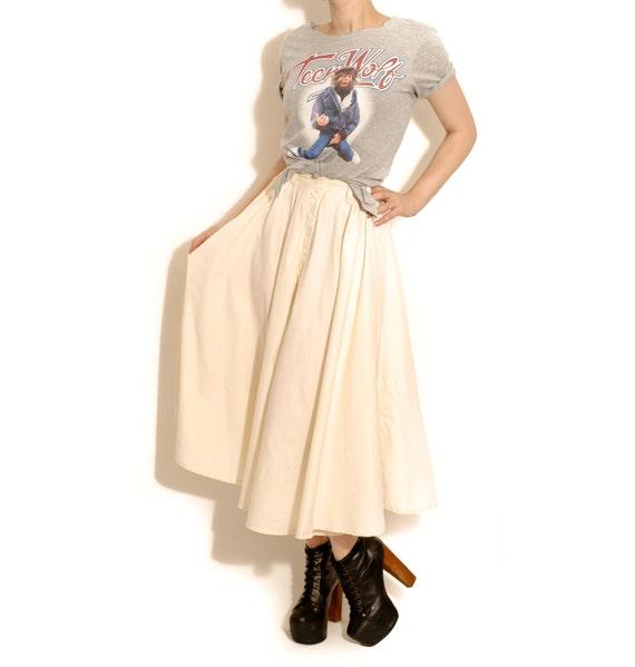 Vintage Cream Circle Skirt, Retro, Rockabilly - U.K 8/10