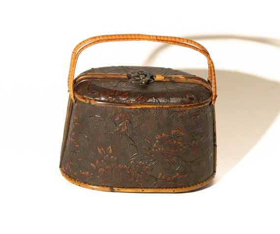 Vintage Brown Wooden Box Bag With Embossed Flower Design & Bamboo Handle - REDUCED