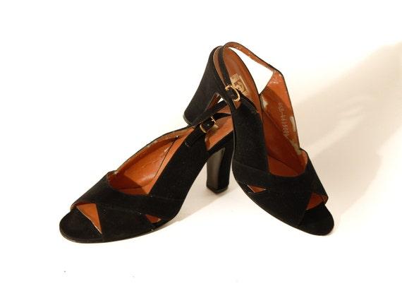 1950s Black Suede High Heel Shoes, Sling Backs - Dead Stock - REDUCED