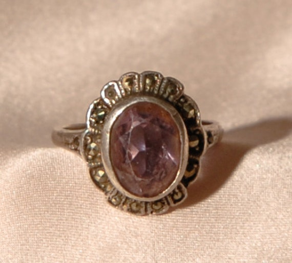 Vintage Sterling Silver Art Deco Amethyst Ring With Marcasite Stones - Size U.K Q