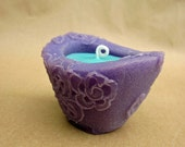 Gum Drops - Beewax palmwax Candle, Small Chantilly Design Natural Wax Candle, Dk Lavender / Teal Candle