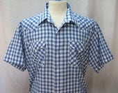 Vintage Panhandle Slim mens Blue & White Gingham checkered Western shirt with pearl snaps Sz XL