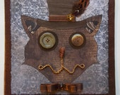 Starving Artist Sale SAVE 15% (9.45) Steampunk Cat- Vintage Inspired (8x8)