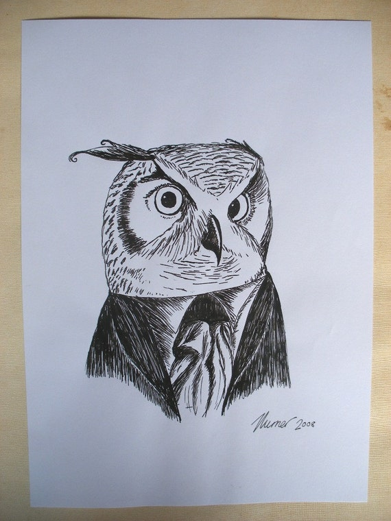 Immanuowl Kant- original pen and ink owl drawing by Jon Turner