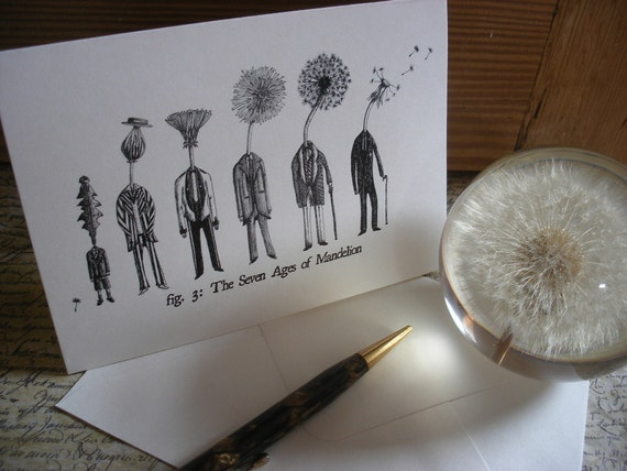 The Seven Ages of Mandelion - Blank A6 Small Dandelion Greetings Card/ Notecard