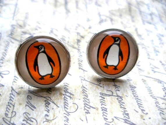 Unique Penguin Books Earrings Made With Vintage Paperback Covers- Large Post Stud Earrings- Literary gift for her