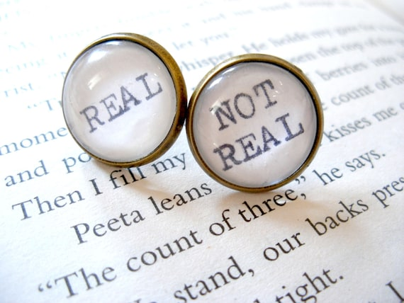 Hunger Games Earrings REAL or NOT REAL Large Post Earrings with Real Vintage Typewriter Text- black white antique bronze stud ear rings