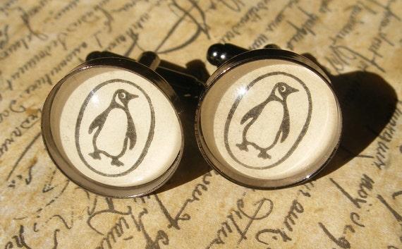 Unique Penguin Books Cufflinks Made With Vintage Books- Mens Fashion Cuff Links- Black and White Literary Gift for Him