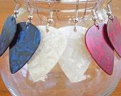 Guitar Pick Earring Set -Three Pair - Red/White/Blue/Pearloid/Fender