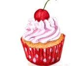 Cupcake 28 - Original Watercolor Painting 8x6 inches