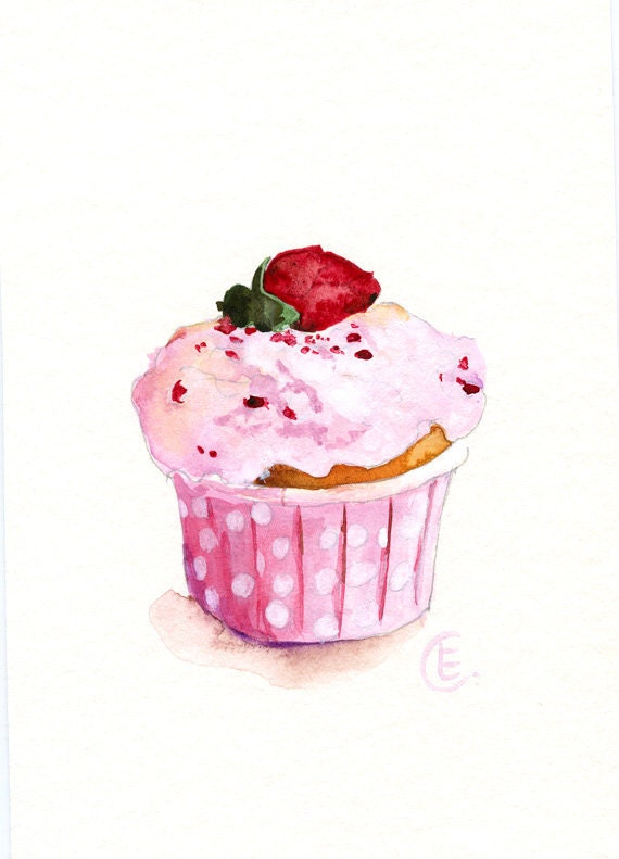 Cupcake 34 original watercolor painting 8x6 by fleurdeparis for Cupcake wall art