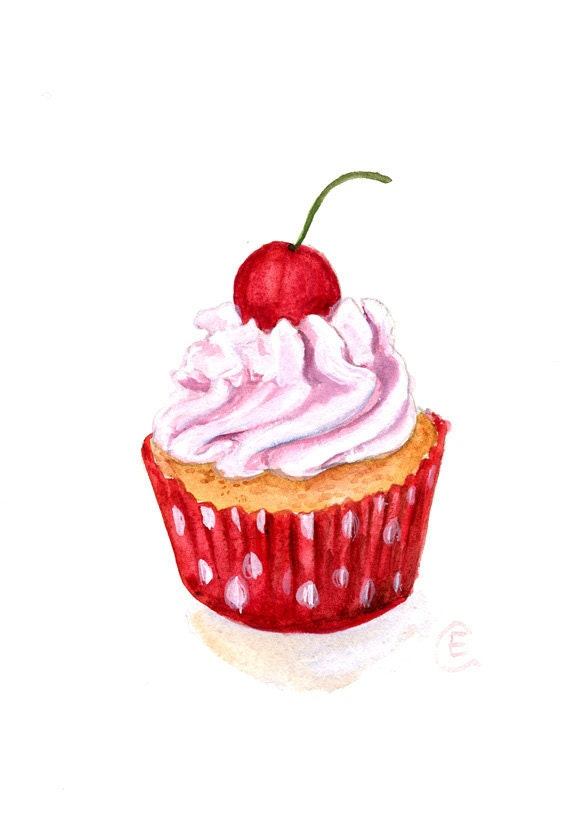 Cupcake 28 - Original Watercolor Painting 8x6 inches