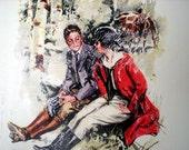 Valentines, Equestrian, HoRses, Couple, Vintage Magazine, Transfer onto Painters Canvas, Picture, Fox Hunt, Romantic, Boutique