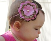 NEW Pink Military Flower Headband Newborn to Adult in any Military Branch