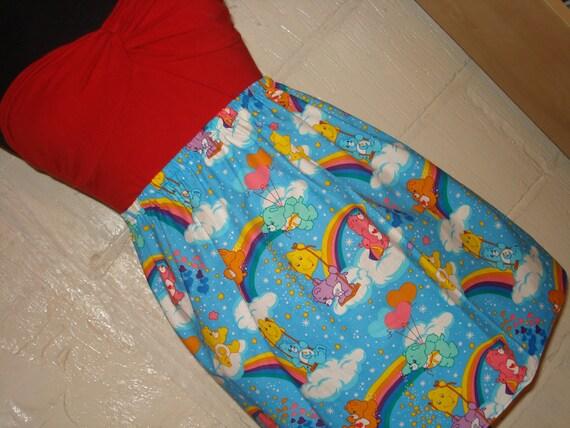Care Bears Mini Skirt - High Waisted Ladies Mini Skirt -  Handmade & Ready to Ship