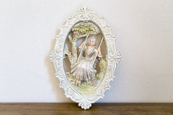 Vintage Victorian Lady Wall Plaque - Chalkware