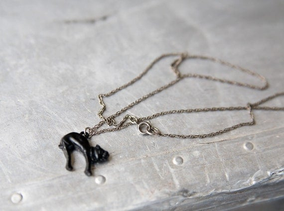 Vintage Cat Necklace - Cracker Jack Charm - Silver Chain