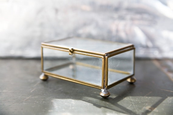 Vintage Glass Box - Brass Container
