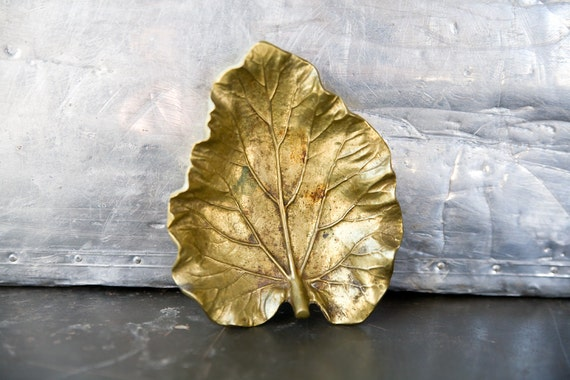 Vintage Brass Leaf Dish - Virginia Metalcrafters - Rhubarb Leaf 1948