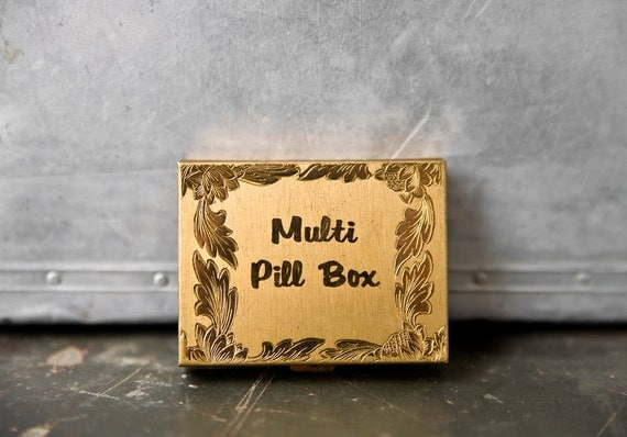 Vintage Brass Pill Box Container