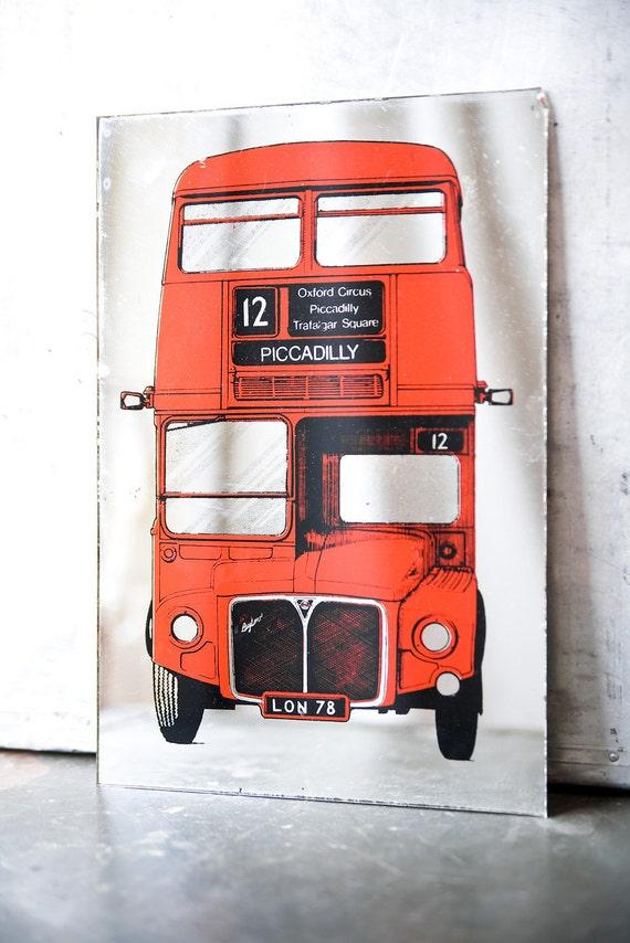 Vintage Mirror - London Bus Print