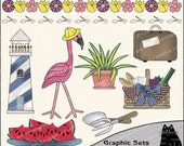 Thoughts of Summer Clipart and Graphic Set, Nautical Clipart, Vacation Clipart - Digital Scrapbooking Kit