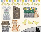 Spring Fever Clipart and Graphic Set, Easter Clipart, Spring Clipart - Digital Scrapbooking Kit