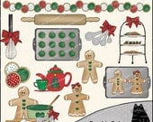 My Holiday Kitchen Christmas Clipart and Graphic Set, Baking Clipart, Cooking Clipart - Digital Scrapbooking Kit