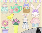 Easter Parade Clipart and Graphic Set, Spring Clipart, Easter Clipart - Digital Scrapbooking Kit