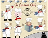 Le Gourmet Chef Clipart and Graphic Set, Cooking Clipart, Baking Clipart, Kitchen Clipart - Digital Scrapbooking Kit
