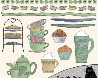 The Beverage Cart Clipart and Graphic Set, Restaurant Clipart, Dessert Clipart, Coffee Clipart - Digital Scrapbooking Kit