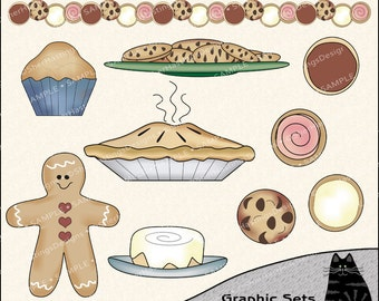 Cookin - Baked Goods Clipart and Graphic Set, Baking Clipart, Cooking Clipart, Kitchen Clipart - Digital Scrapbooking Kit