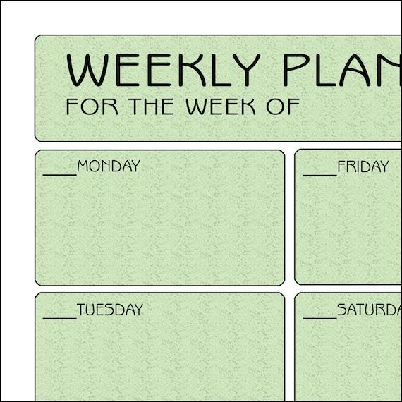 Printable Weekly Planner - Green