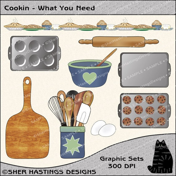 Cookin - What You Need Clipart and Graphic Set, Kitchen Clipart, Baking Clipart, Cooking Clipart - Digital Scrapbooking Kit