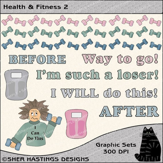 Health & Fitness 2 Clipart and Graphic Set, Diet Clipart, Weight Loss Clipart, Health Clipart - Digital Scrapbooking Kit