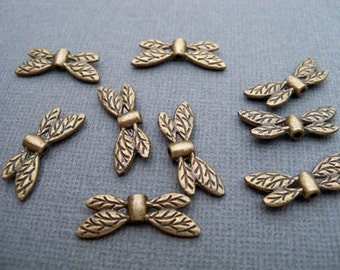 10 Bronze Dragonfly Wing Beads 22mm