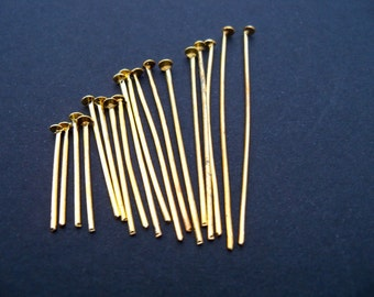900 Gold Plated Head Pins Assorted Sizes 21 gauge