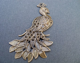 8 Bronze Peacock Pendants 7mm Antiqued Bronze