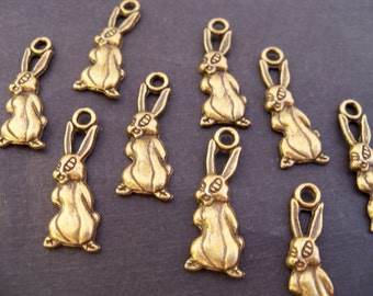 8 Antiqued Bronze Rabbit Charms 25mm