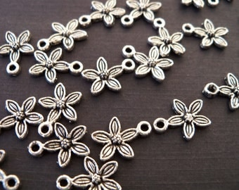 14 Silver Plum Blossom Charms Antiqued Silver  14mm