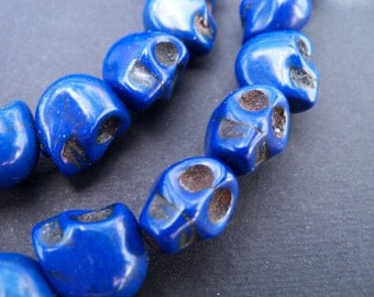 10 Blue Skull Beads 14mm Dyed Howlite Stone Beads Sugar Skulls Day of the Dead