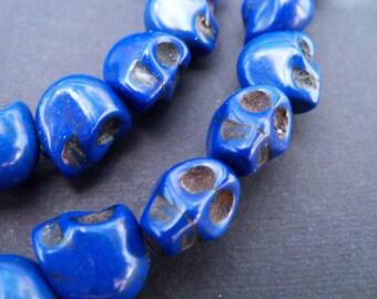 10 Blue Skull Beads 14mm Dyed Howlite Stone Beads Sugar Skulls Day of the Dead