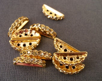 Gold Plated, Three Hole Crystal Beads 10 pcs