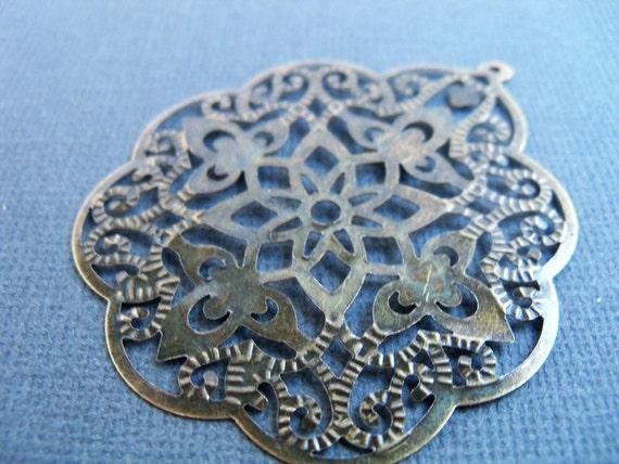 Bronze Filigree Flower Pendants, Lightweight, Antiqued Bronze, 58mm, 8 pcs