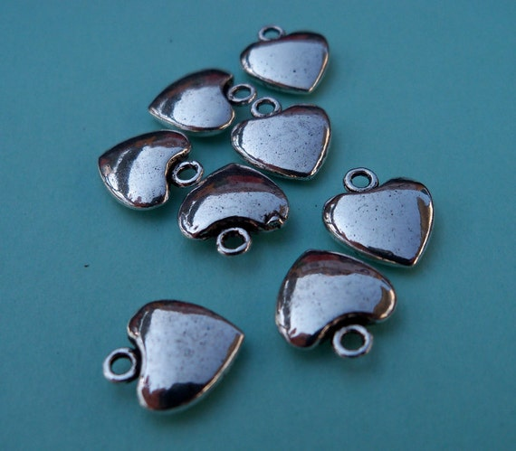 Antiqued Silver Puffed Heart Charms (6)
