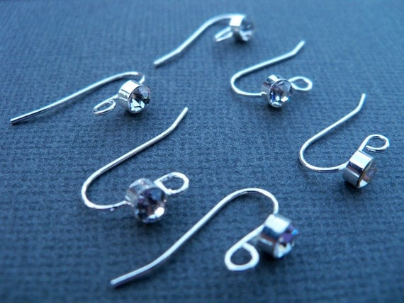 Silver and Crystal Earrings, Silver Plated French Hook with Rhinestone Setting, 8 Pairs