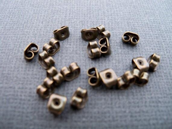 Antiqued Bronze Earring Backs, Ear Nut, Clutch, 50 prs